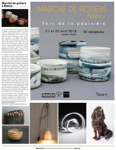 2018 - 04 AVRIL - Spectacle et Art de vivre Nancy - Article - Site Elodie LESIGNE
